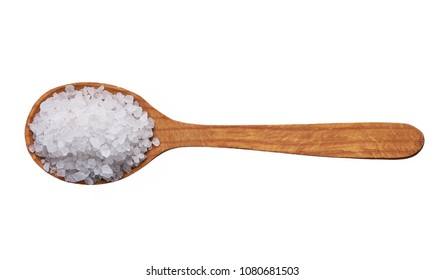 sea salt on wooden spoon isolated .top view