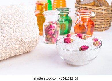 Sea salt and other bath cosmetic and Accessories on wooden background