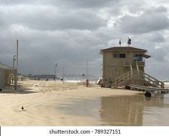 sea sand beach in Tel Aviv, a major city in Israel, located on the country's Mediterranean coastline. The central city beach.