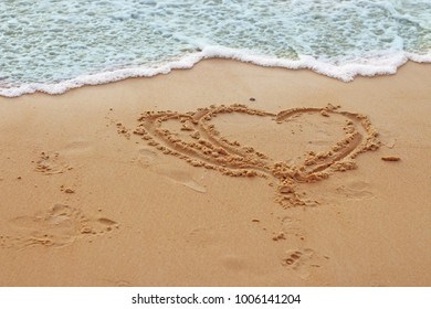 Sea, sand, beach, wave and heart on the beach in Phuket Province of Thailand. Blank space for text. Concept love, Valentine's Day.