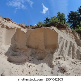 Sea sand in a clearing in a pine forest. Western Siberia.