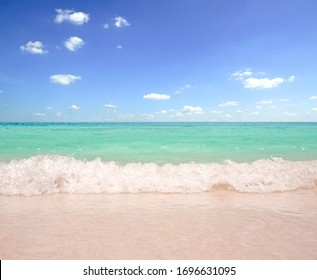 Sea sand and sky in beautiful summer beach background
