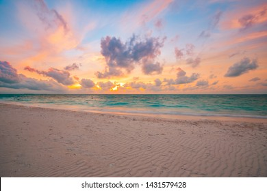 Sea sand sky concept, sunset colors clouds, horizon, horizontal background banner. Inspirational nature landscape, beautiful colors, wonderful scenery of tropical beach. Beach sunset, summer vacation - Shutterstock ID 1431579428