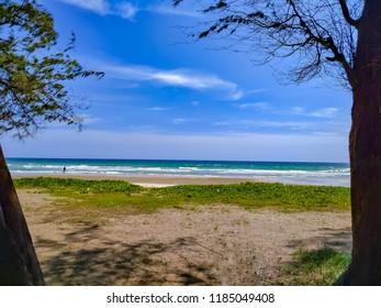 Sea scape with beach , sea and blue sky.