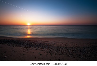 Sea scape scene in the Ocean, beach ocean sunset landscape.