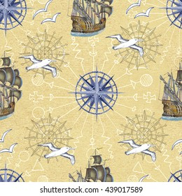 Sea seamless pattern with gulls and ships on yellow background. Doodle illustration with vintage transportation emblems, hand drawn repeated drawing with marine elements