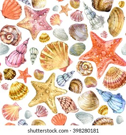 sea shell seamless pattern. underwater life watercolor background.