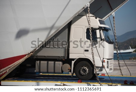 Sea Shipping Concept Truck Get Off Stock Photo (Edit Now