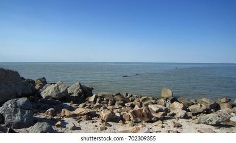 Sea shore and blue sky