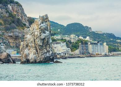 Sea shore in the Crimea in the summer, Rock Parus