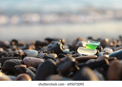 Sea shore and sea glass.