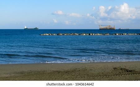Sea shore panorama of the wild beach on Cyprus