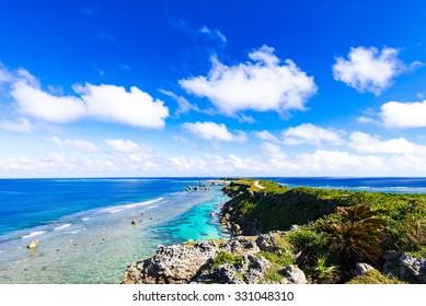 Sea, shore, seascape. Okinawa, Japan, Asia.