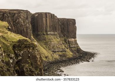 Sea shoreline with Kilt Rock, Skye Island, Scotland