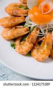Sea shrimp gourmet close-up