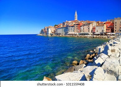 Sea side pier and historical buildings from the Venetian town of Rovinj, Croatia