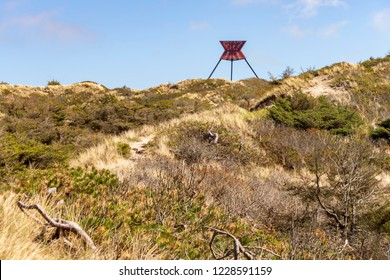 The sea sign in Bøgsted Rende on the North Sea coast in Denmark