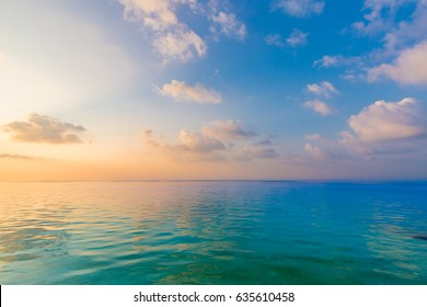 Sea sky clouds, horizon. Colorful horizontal background banner