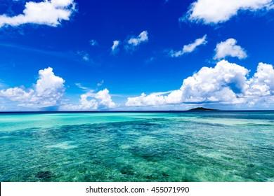 Sea, sky, clouds, landscape. Okinawa, Japan, Asia.