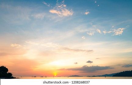 Sea and sky sunset background