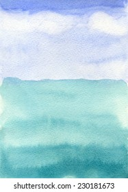 sea and sky,  watercolor background