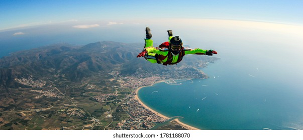 Sea skydive background. Man jumps with parashute