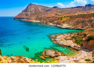 Sea skyview landscape photo of coastline near Stegna beach and Archangelos on Rhodes island, Dodecanese, Greece. Panorama with sand beach and clear blue water. Famous tourist destination South Europe