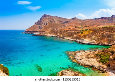 Sea skyview landscape photo of coastline near Stegna beach and Archangelos Rhodes island, Dodecanese, Greece. Panorama with sand beach and clear blue water. Famous tourist destination in South Europe