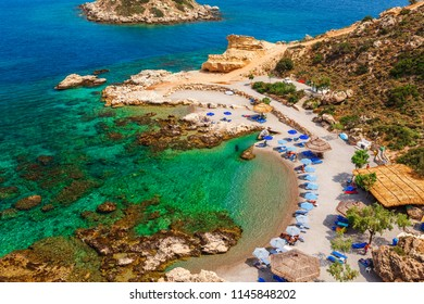 Sea skyview landscape photo of picturesque beach near Stegna and Archangelos on Rhodes island, Dodecanese, Greece. Panorama with sand and clear blue water. Famous tourist destination in South Europe