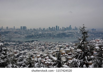 sea and snowy city, istanbul