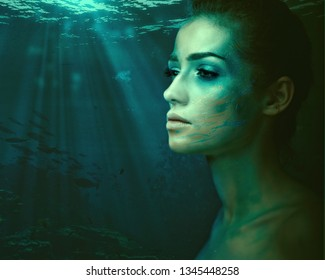 Sea spirit. Fantastic female portrait with underwater backgrounds