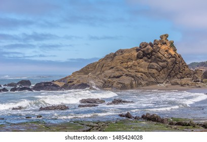 Sea stack at Fogarty Creek State Recreation Area, Lincoln County, Oregon. The image was photographed as low tide when the stack is not surrounded by water. At high tide it is surrounded by water.