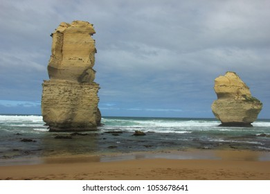 The sea stack formation called Gog and Magog as seen from beach of Gibson Steps at along the Great Ocean Road in Victoria, Australia.