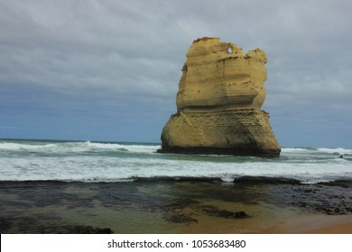 The sea stack formations called Magog which is part of the pair of sea stacks called Gog and Magog at Gibson Steps along the Great Ocean Road in Victoria, Australia.