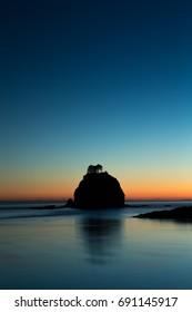 Sea Stack in La Push, Washington at sunset.