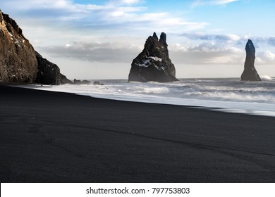 Sea Stacks and Basalt Clifs to the East of Reynisfjara Black Sand Beach, near Vik in Southern Iceland