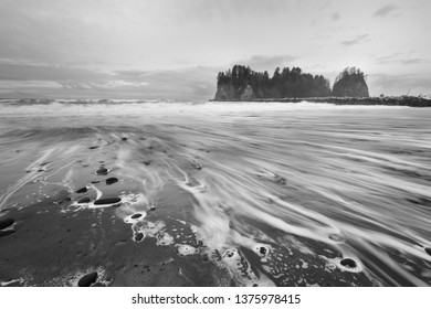 Sea stacks at First Beach, Olympic National Park in black and white.  The beach is located on the Pacific Ocean in Washington state, USA