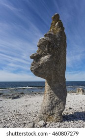 Sea stacks of Gotland. Imaginative and natural sculptures at Langshammar, Digerhuvud. A sea stack is a by abrasion shaped rock, a geological phenomenon which give the area this imaginative look