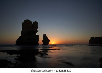 Sea stacks in the sunset at Gibson Steps on the Great Ocean Road, Victoria, Australia.