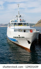 The sea steamship costs at a mooring in the black sea