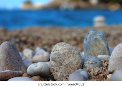 Sea stones at the shore . beautiful seascape with a dreamy look