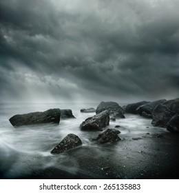 Sea Storm Long Exposure on a rugged coast line.