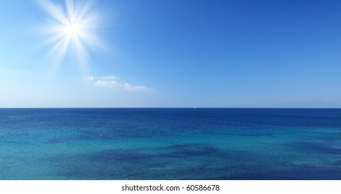 Sea with sun and blue sky in Croatia