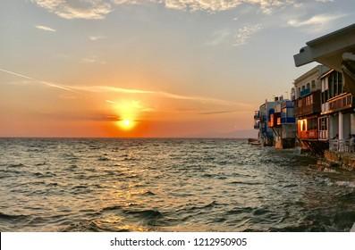 Sea sunset in Mikonos