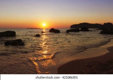 Sea sunset on the island of Crete in Greece.