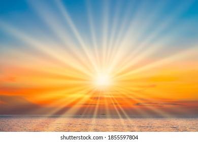Sea sunset with sunset sun on sunset clouds
