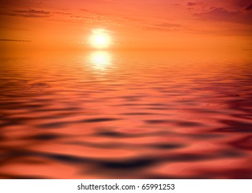 sea sunset - sun reflecting in the red ocean