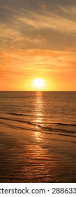 Sea sunset. Vertical panoramic composition.