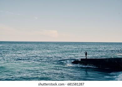 Sea, surf noise, sunset, evening, twilight