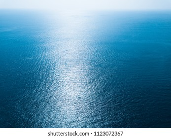 Sea surface aerial view with horizon